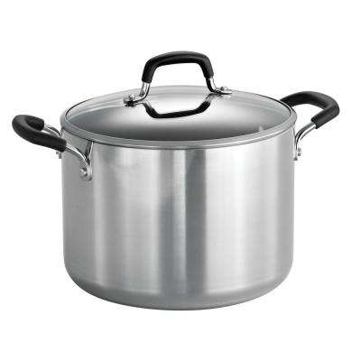 Style Polished Aluminum 8 Qt. Covered Stock Pot