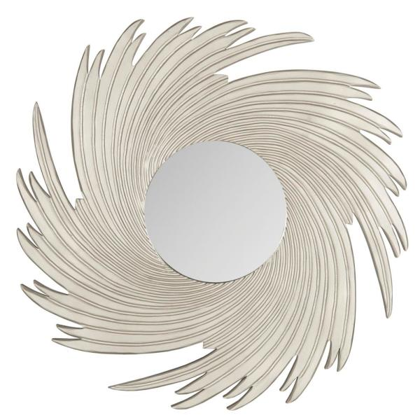 Nouveau Wave 36 in. x 36 in. Round Solid Wood Framed Mirror