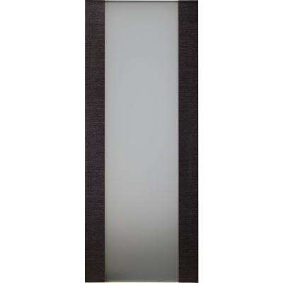 32 in. x 80 in. Avanti 202 Black Apricot Finished Solid Core Wood 1-Lite Frosted Glass Interior Door Slab No Bore