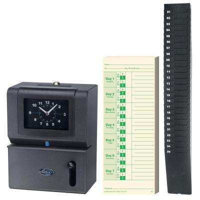 Premium Time Employee Recorder with Expandable Time Card Rack and 100 M2-100 Double Sided Weekly Time Cards