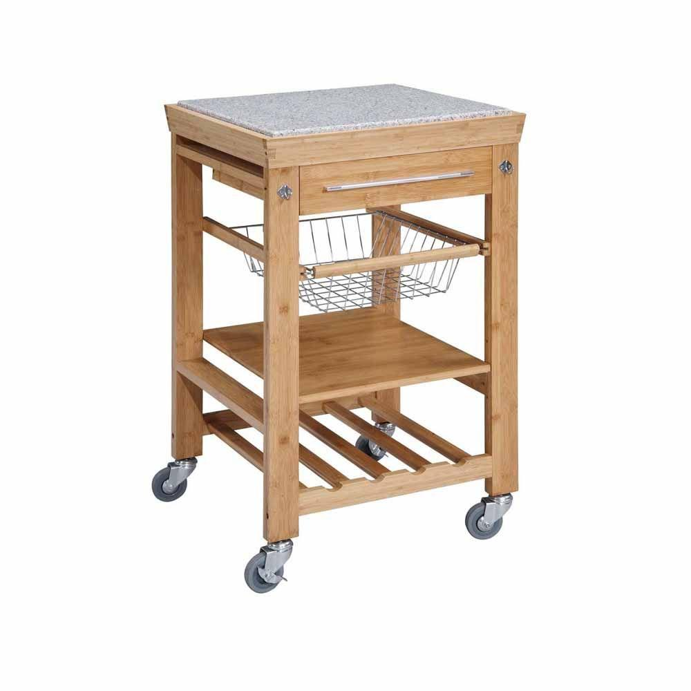 22 sq. in. Bamboo Kitchen Island Cart