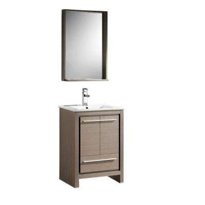 Allier 24 in. Vanity in Gray Oak with Ceramic Vanity Top in White with White Basin and Mirror