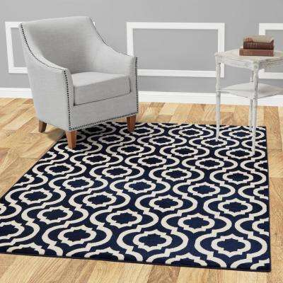 Jasmin Collection Moroccan Trellis Design Navy and Ivory 8 ft. x 10 ft. Area Rug