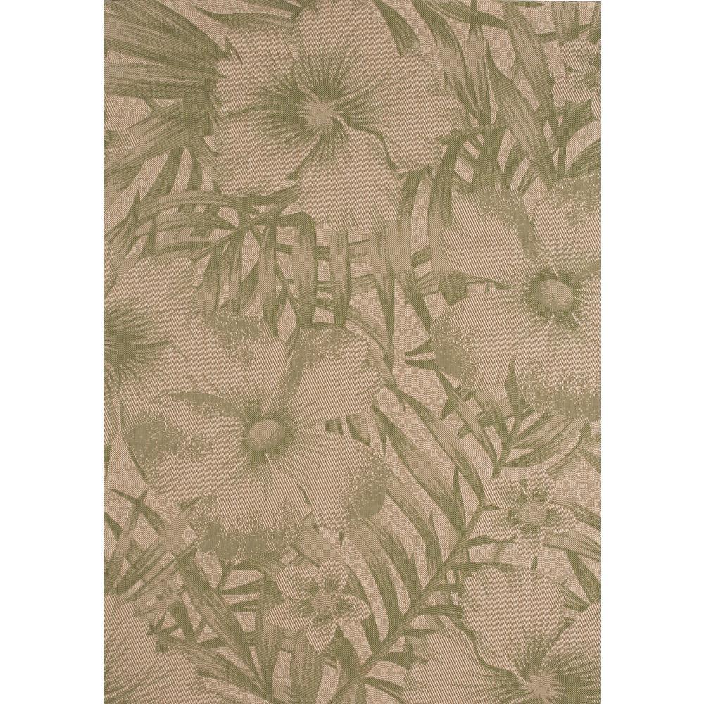 Hampton Bay Tropical Blossom Green 8 ft. x 10 ft. Indoor/Outdoor ...