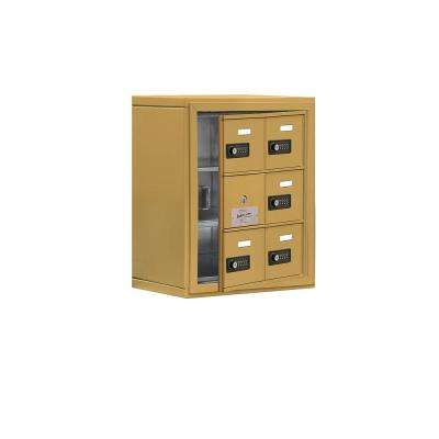 19100 Series 17.5 in. W x 20 in. H x 9.25 in. D 5 Doors Cell Phone Locker Surface Mount Resettable Lock in Gold