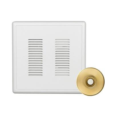 PrimeChime Plus 2 Video Compatible Wired Door Bell Chime Kit with Polished Brass Stucco Button