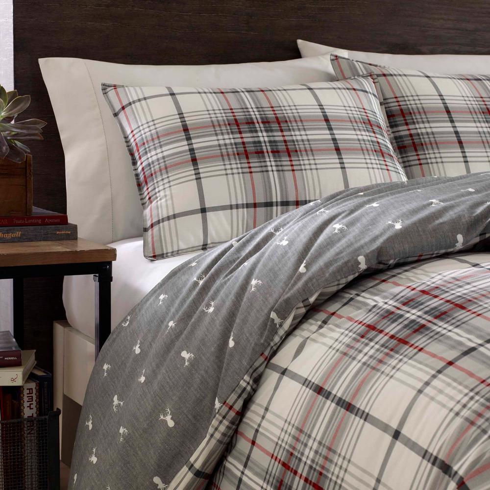 Alder Charcoal Plaid Cotton Comforter Set