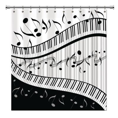 Music 72 in. Black and Gray Shower Curtain