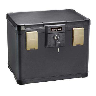 0.60 cu. ft. Molded Fire Resistant and Waterproof Filing Chest Safe with Key and Double Latch Lock