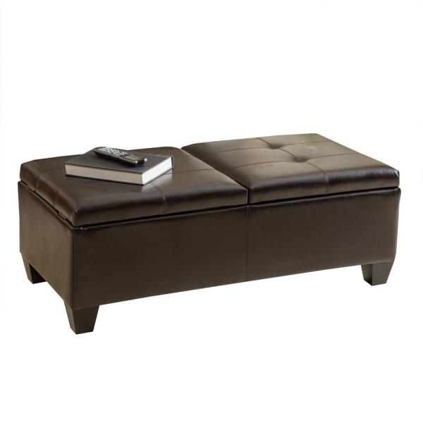 Noble House Alfred Chocolate Brown Bonded Leather Storage Bench