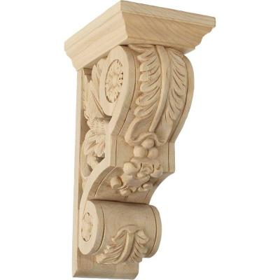 5-1/2 in. x 3-3/4 in. x 9-1/2 in. Unfinished Wood Lindenwood Small Floral Corbel