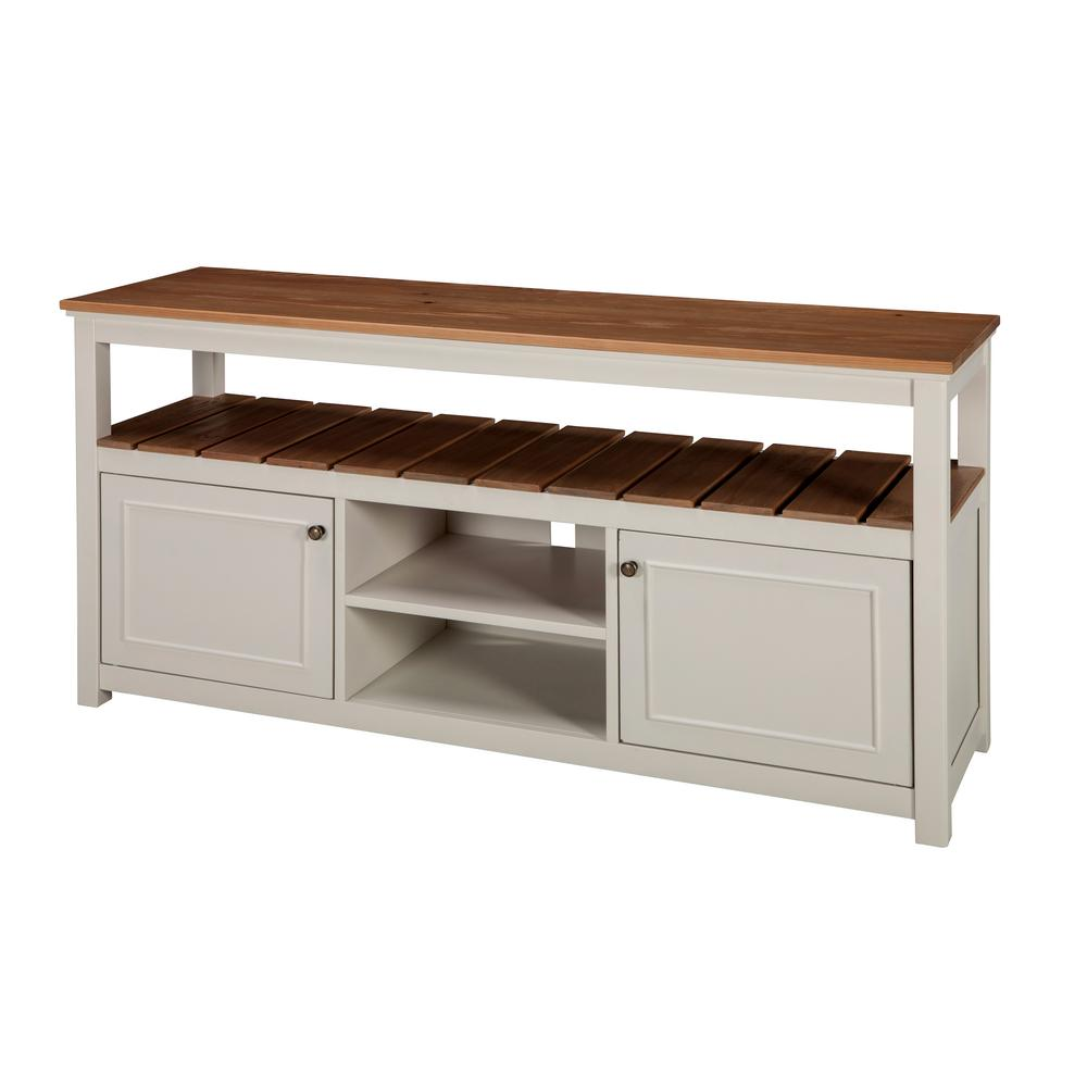 Savannah Ivory With Natural Wood Top Tv Cabinet