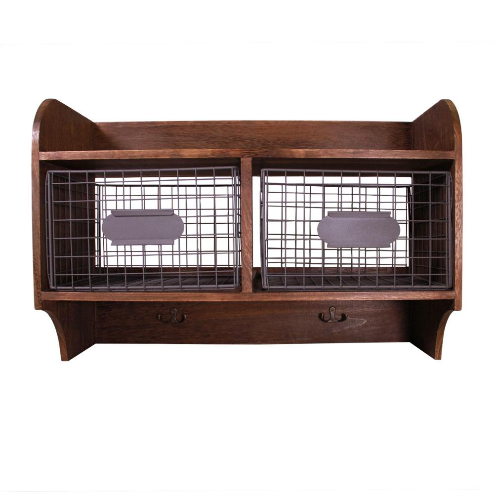 78497e64bb67 JIA HOME 24 in. W x 10 in. D Wood Wall Shelf with 2 Wire Baskets and ...