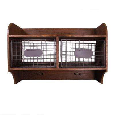 24 in. W x 10 in. D Wood Wall Shelf with 2 Wire Baskets and Hanging Hooks
