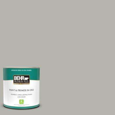 1 qt. #PPU25-08 Heirloom Silver Semi-Gloss Enamel Low Odor Interior Paint and Primer in One