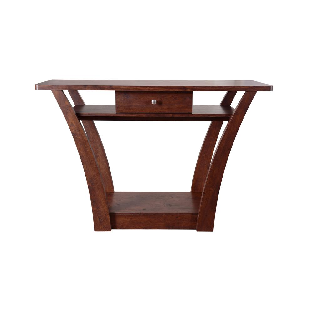 Alesha Walnut 1-Drawer Sofa Table