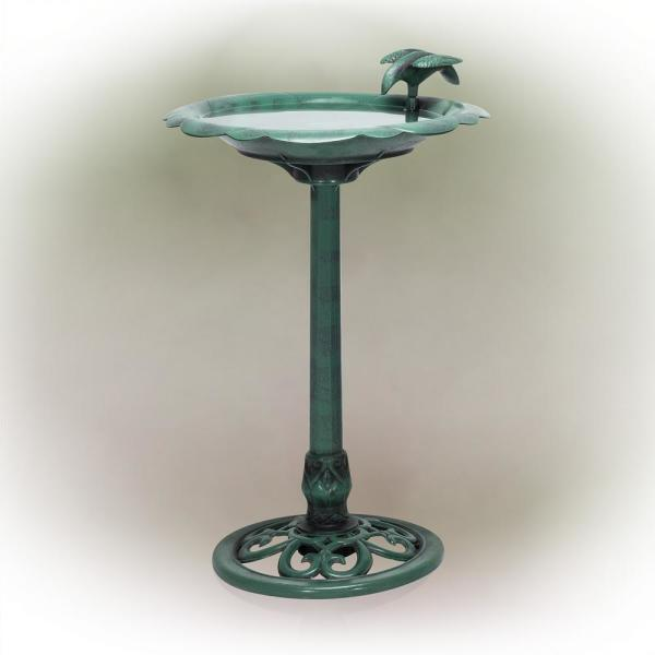 31 in. Tall Outdoor Antique Flower Birdbath with Bird Decoration Yard Statue