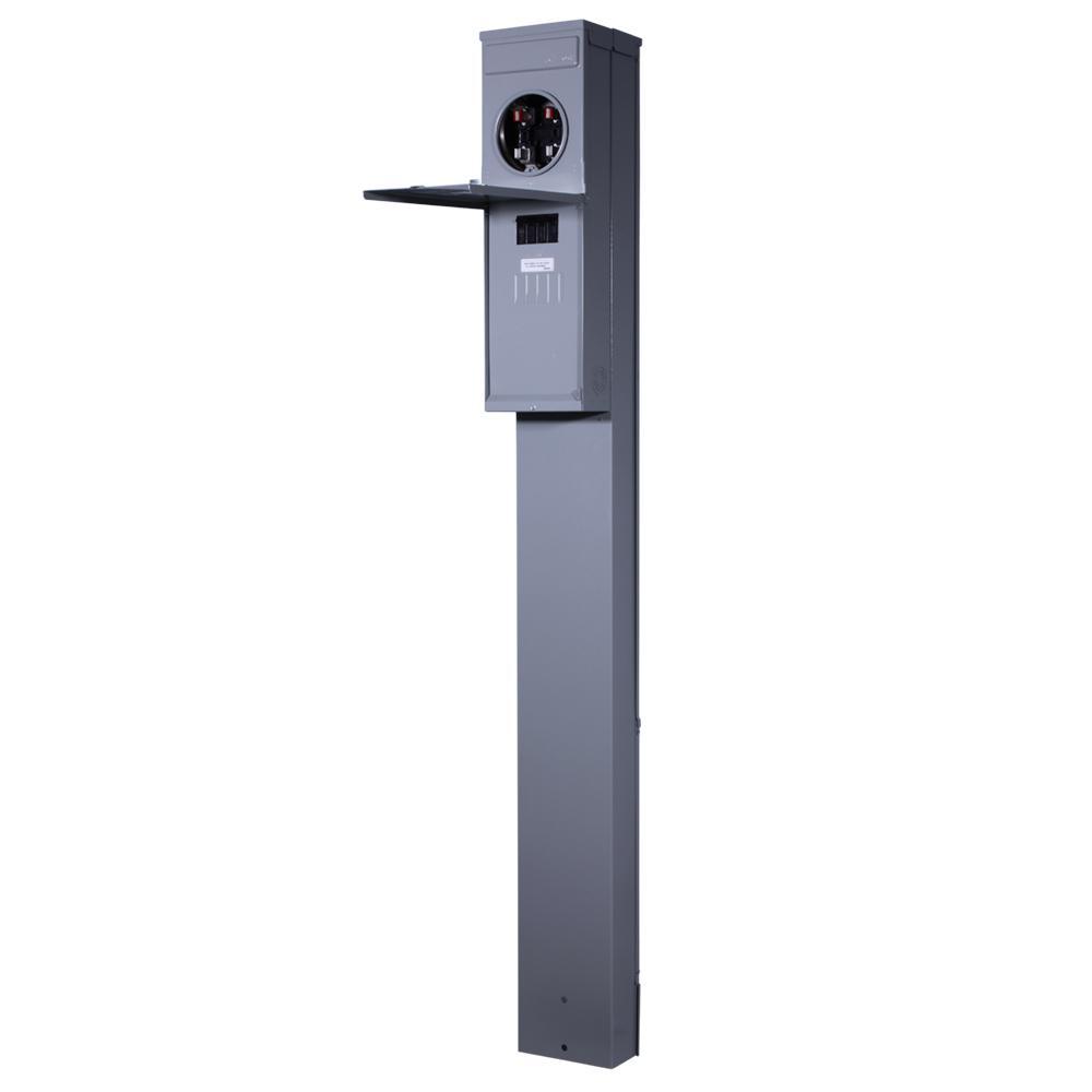 200-Amp 4-Space 4-Circuit Outdoor Ring-Type Meter Socket Pedestal