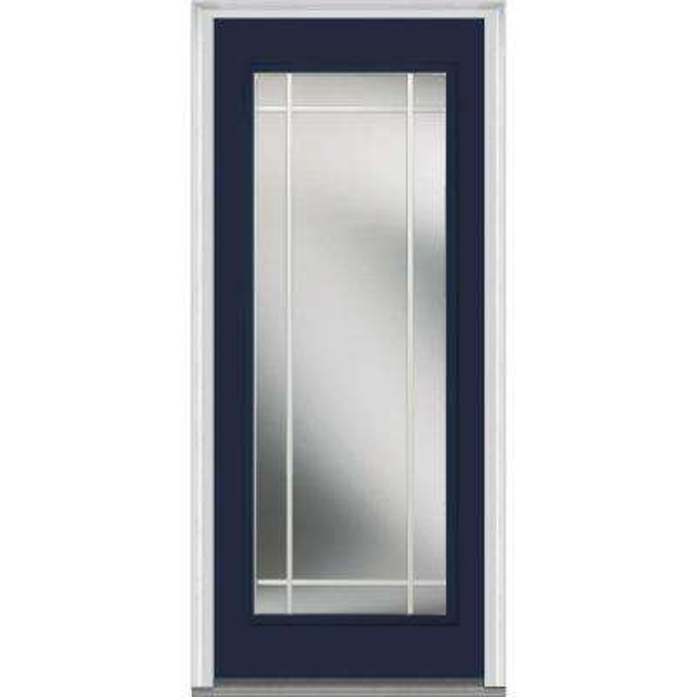 36 in. x 80 in. Prairie Internal Muntins Left-Hand Inswing Full Lite Clear Painted Steel Prehung Front Door