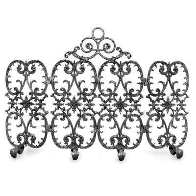 Siena Silver Rub 4-Panel 56 in. W Fireplace Screen with Arch