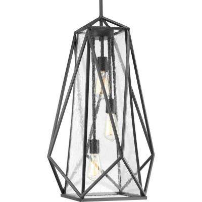 Marque Collection 3 -Light Graphite Pendant with Antique Textured Glass