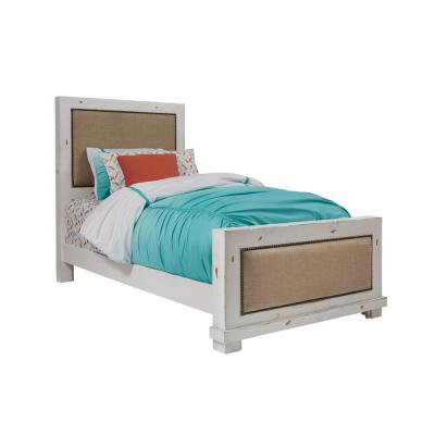 Willow Distressed White Twin Upholstered Bed