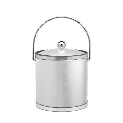 Sophisticates 3 Qt. White and Polished Chrome Ice Bucket with Bale Handle and Acrylic Cover