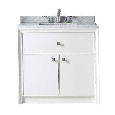 Parrish 36 in. W x 22 in. D Bath Vanity in Bright White with Marble Top in Grey/White