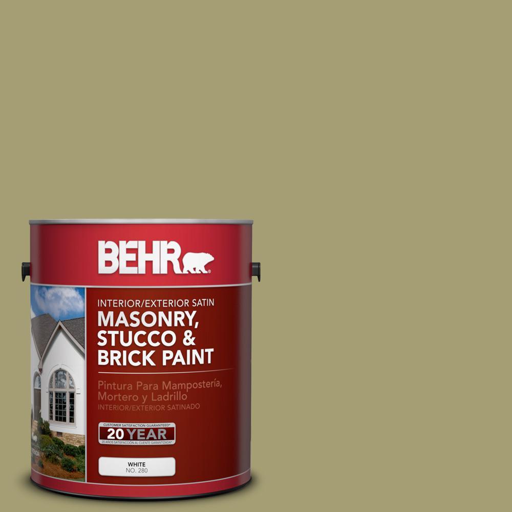 1 gal. #PPU9-4 Fresh Olive Satin Interior/Exterior Masonry, Stucco and Brick Paint