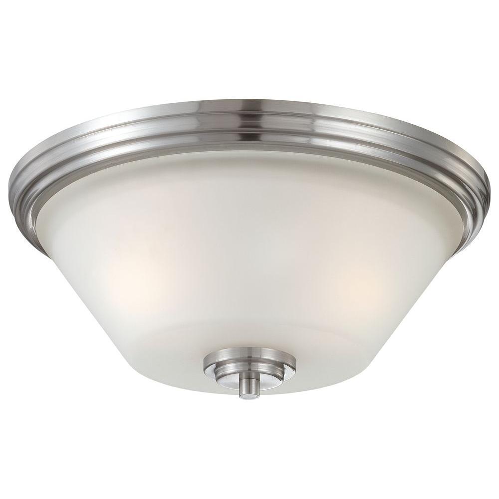 Pittman 2-Light Brushed Nickel Ceiling Flushmount