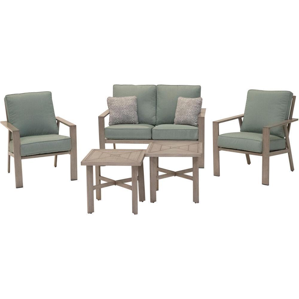 Canyon 5-Piece Aluminum Patio Conversation Set with Green Cushions