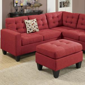 Admirable Milan Modular 4 Piece Sectional Sofa In Carmine With Ottoman Pabps2019 Chair Design Images Pabps2019Com
