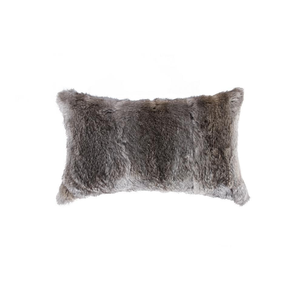 Rabbit Fur 12 in. x 20 in. Grey Pillow