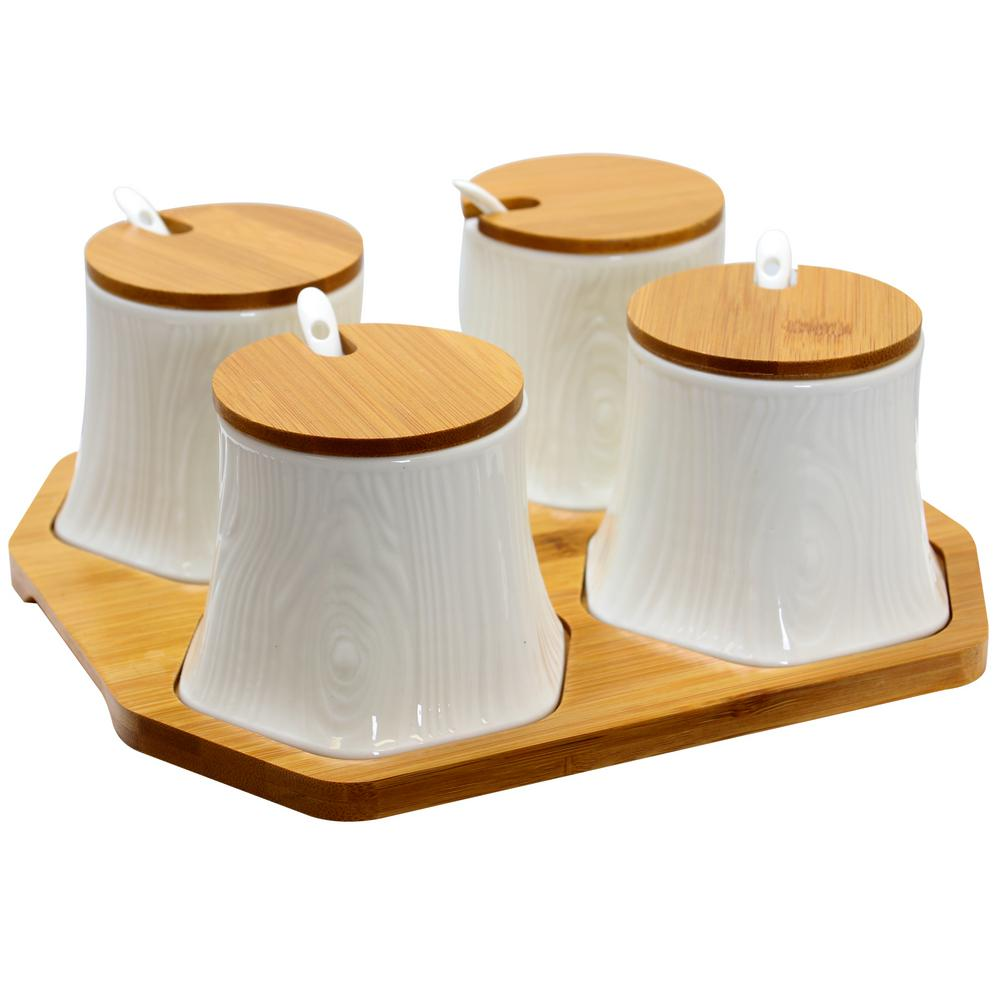 Ceramic Condiment Jars with Bamboo Lids and Serving Spoons