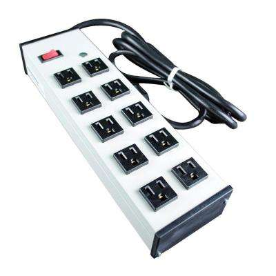 Wiremold 10-Outlet 15 Amp Compact Power Strip with Lighted On/Off Switch, 6 ft. Cord