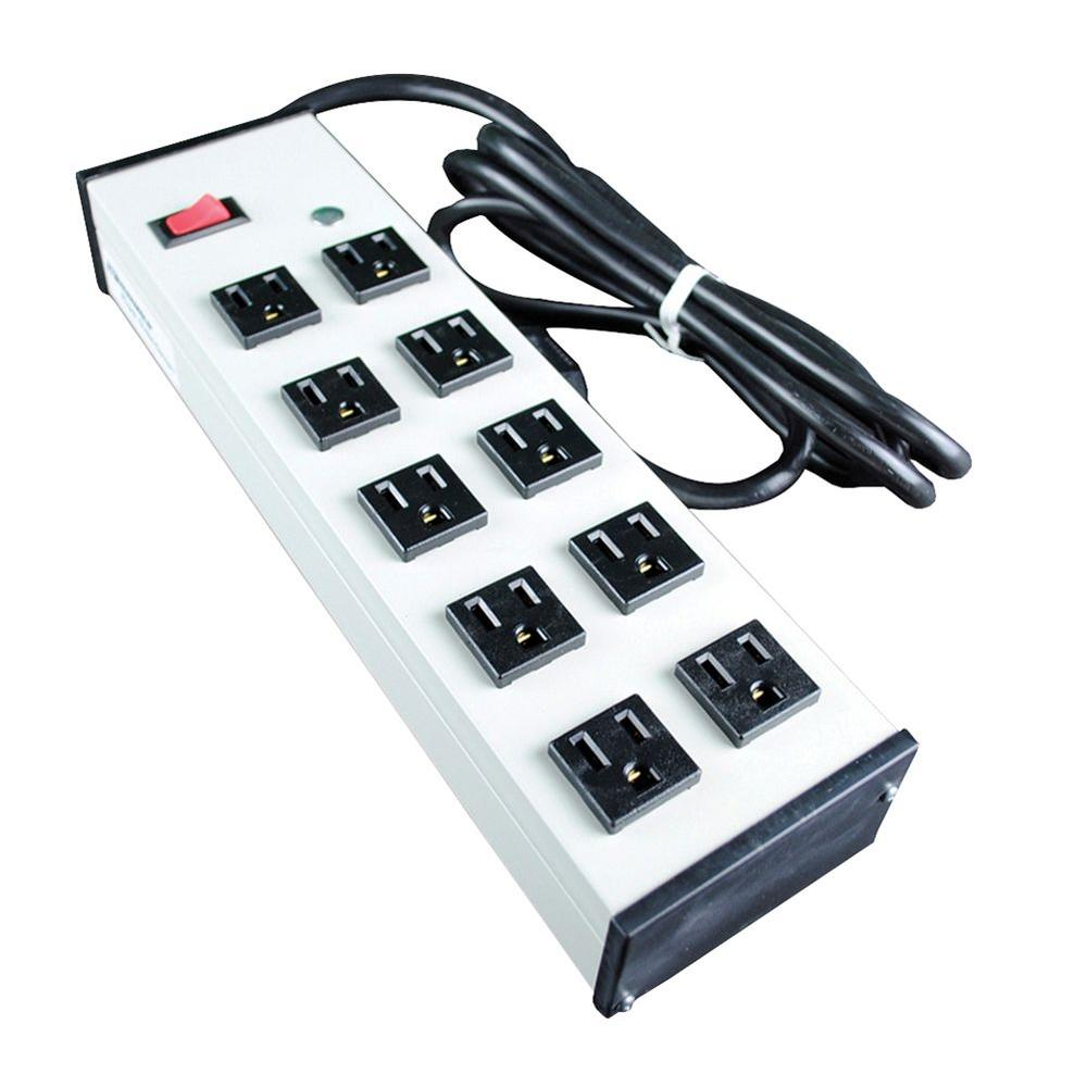 10-Outlet Compact Power Strip with Lighted On.Off Switch, 6 ft. Cord