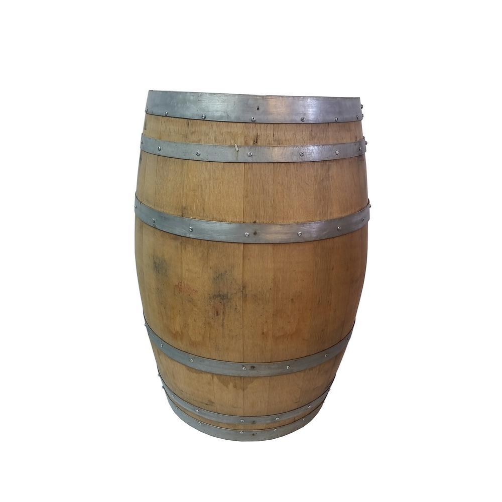26 in. W x 35 in. H Unfinished Oak Wood Split Wine Barrel Stand