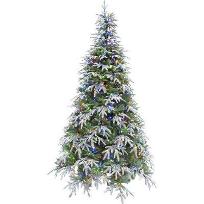9 ft. Hunter Fir Artificial Christmas Tree with Multi-Color LED String Lighting