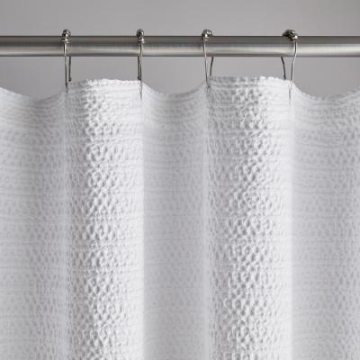 Lattice Matelasse 72 in. White Cotton Shower Curtain