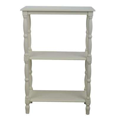 Simplify Off-White 3-Tiered Bookcase