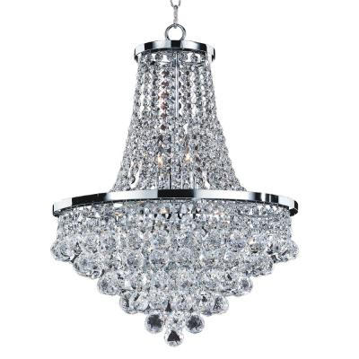 Vista 8-Light Faceted Crystal Ball and Chrome Chandelier