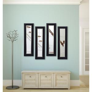 12.5 inch x 33.5 inch Grand Black and Aged Silver Vanity Mirror (Set of 4-Panels) by