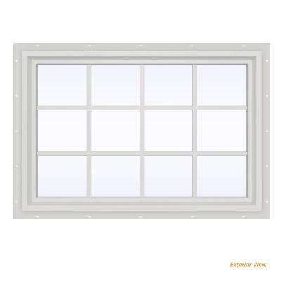47.5 in. x 35.5 in. V-4500 Series White Vinyl Fixed Picture Window with Colonial Grids/Grilles
