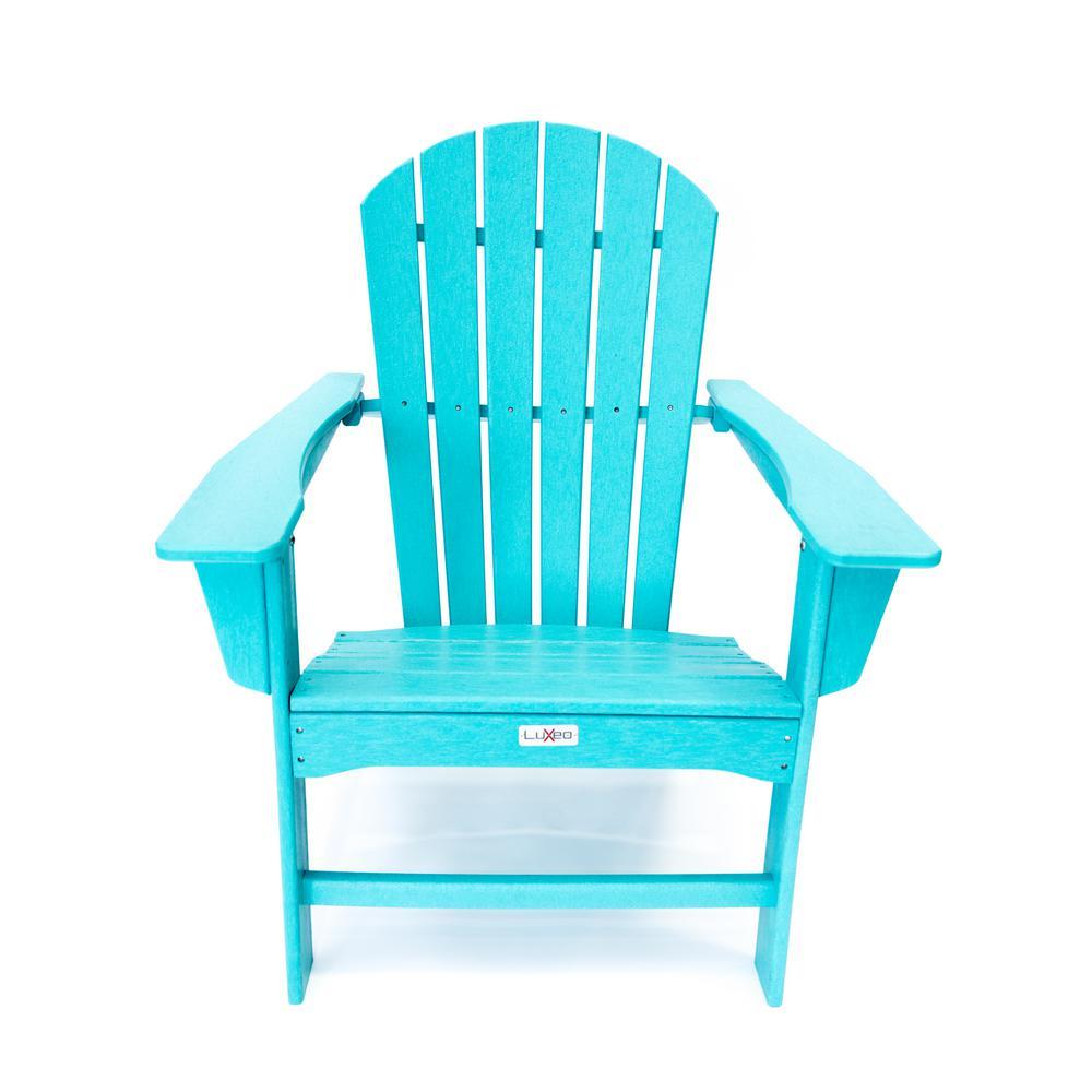 Hampton Aruba Blue Outdoor Patio Plastic Adirondack Chair