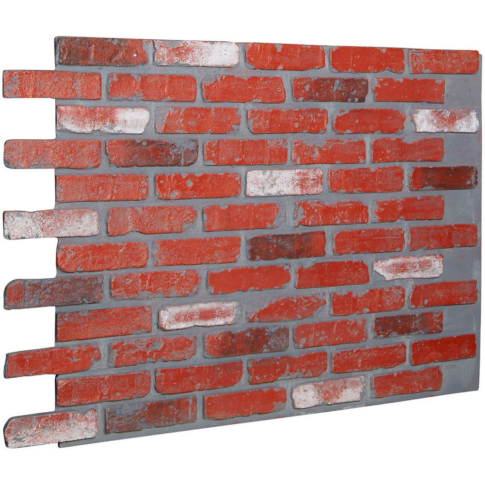 Ekena Millwork 7/8 in. x 46-5/8 in. x 33-3/4 in. Aged Brick Urethane Old Chicago Brick Wall Panel