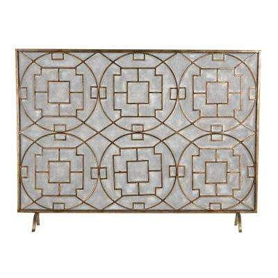 Geometric Single-Panel Fireplace Screen