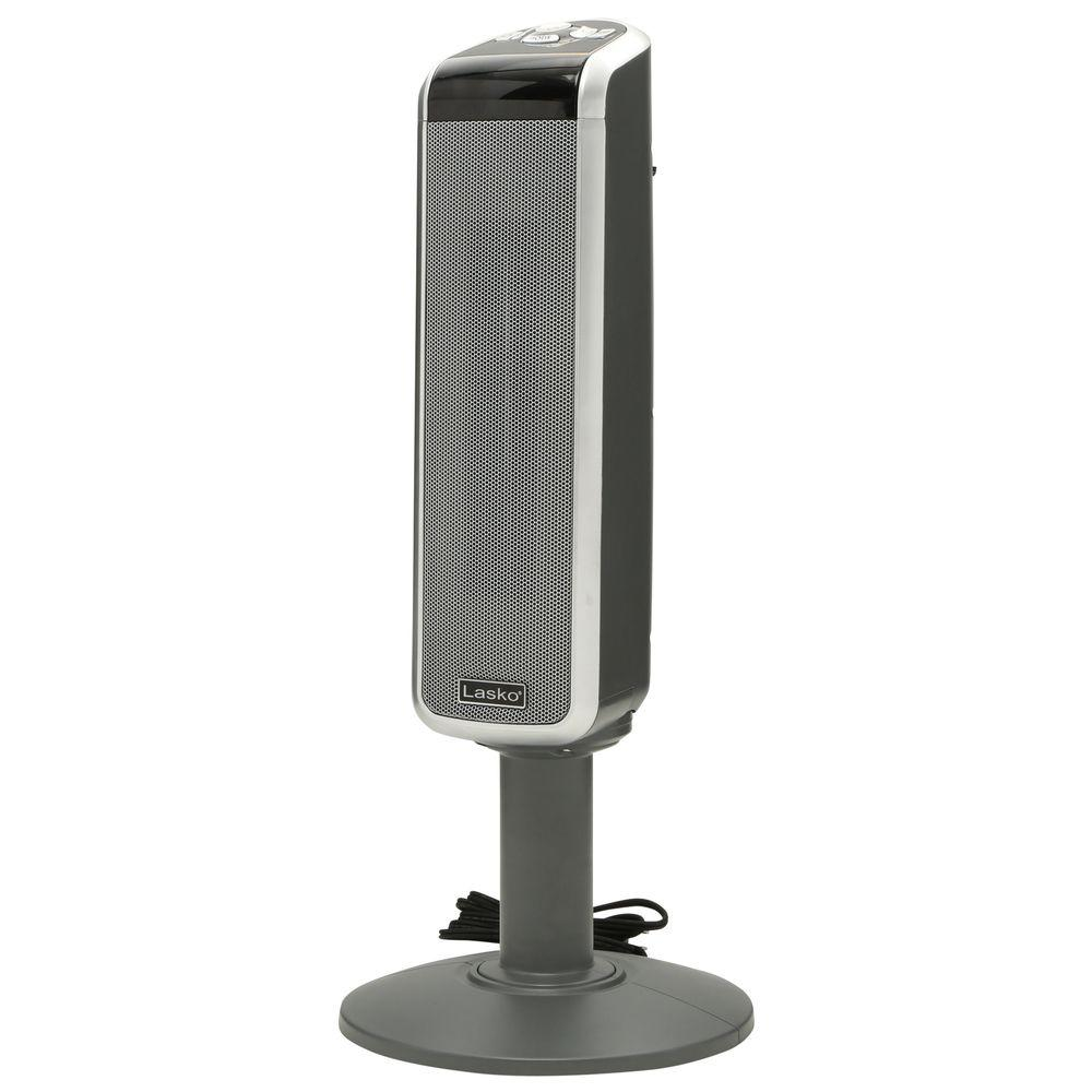 Lasko Pedestal Tower 29 In 1500 Watt Electric Ceramic Oscillating Space Heater With Digital Display And Remote Control 5397 The Home Depot
