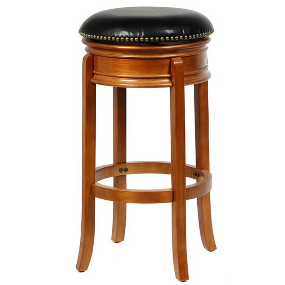4d Concepts Bristol 24 In Oak Swivel Bar Stool 6882404 The Home Depot