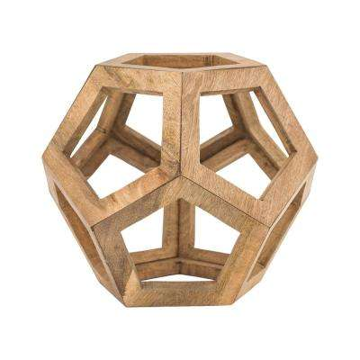 15 in. Honeycomb Orb Decorative Sculpture in Natural Wood