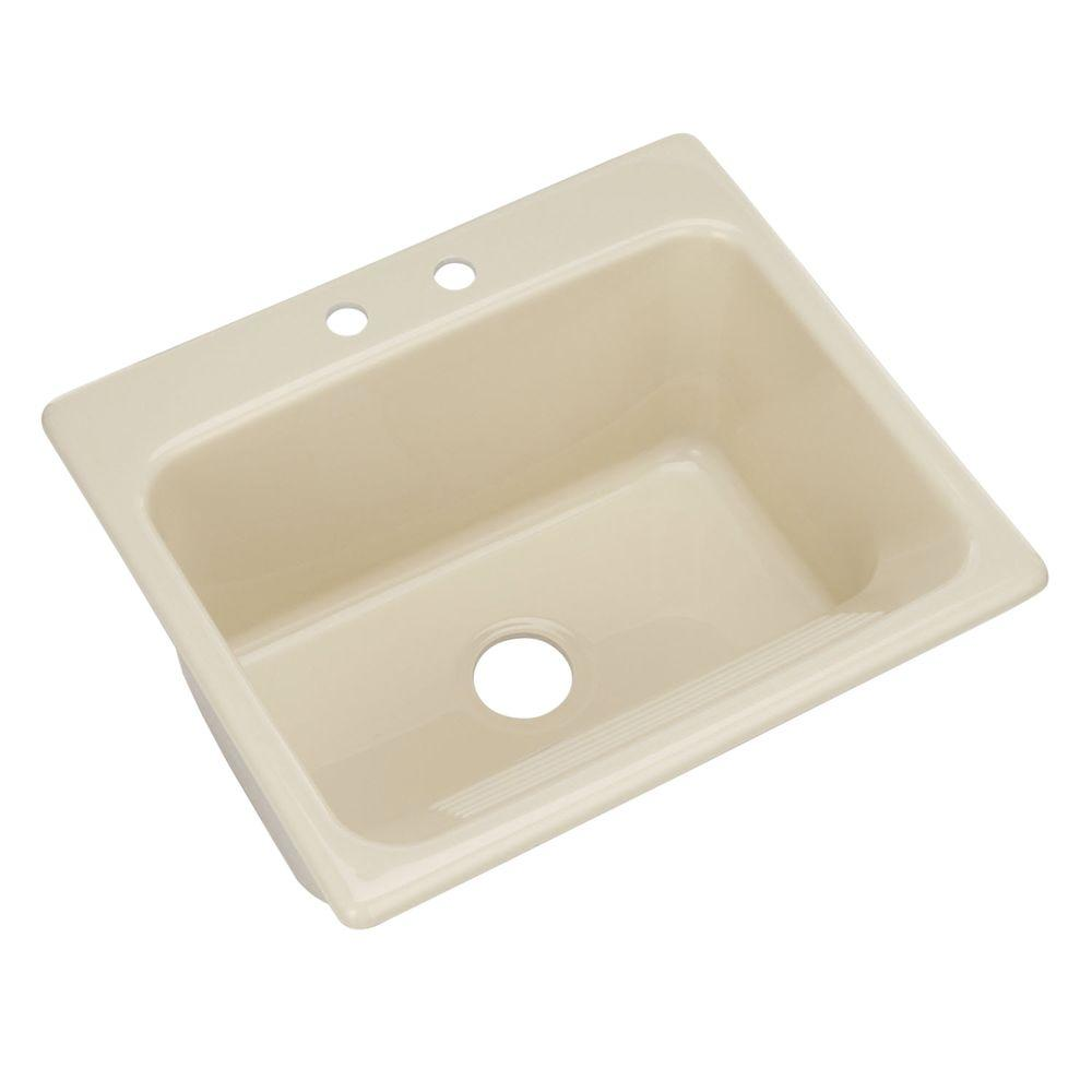 Thermocast Kensington Drop-In Acrylic 25 in. 2-Hole Single Bowl Utility Sink in Jersey Cream